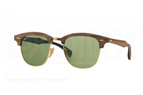 RAY-BAN 3016M CLUBMASTER IN WALNUT RUBBER GREEN