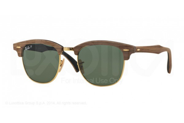 RAY-BAN 3016M CLUBMASTER IN WALNUT RUBBER BLACK